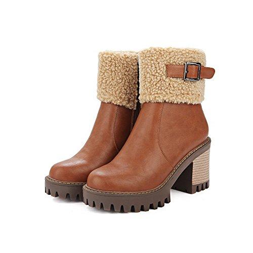 AllhqFashion Damen Rein Reißverschluss Hoher Absatz Stiefel mit Metallisch Braun