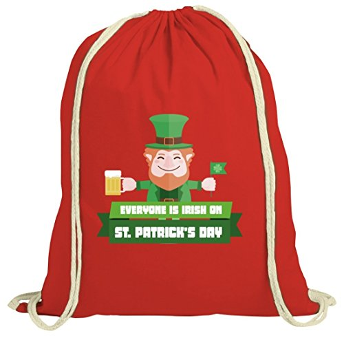 Saint Patrick's Day St. Patricks Day natur Rucksack Turnbeutel mit Everyone Is Irish...Motiv Rot Natur