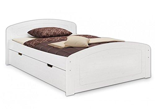 Erst-Holz® Funktionsbett 160×200 Doppelbett 3 Staukästen Seniorenbett Massivholz Kiefer Weiß 60.50-16 W oR