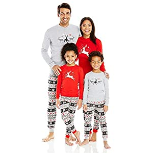 Pijama Familiar Navideño 2 Piezas Alce Manga Larga Pantalones Cuello Redondo Ropa Dormir para Mamá Papá Bebé (Color… 9