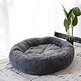 Lrhps Mascotas Cama Donut,Cama calmante para Perros y Gatos,para Perros y Gatos supergrandes pequeños y medianos (Dark Gray, 70cm)
