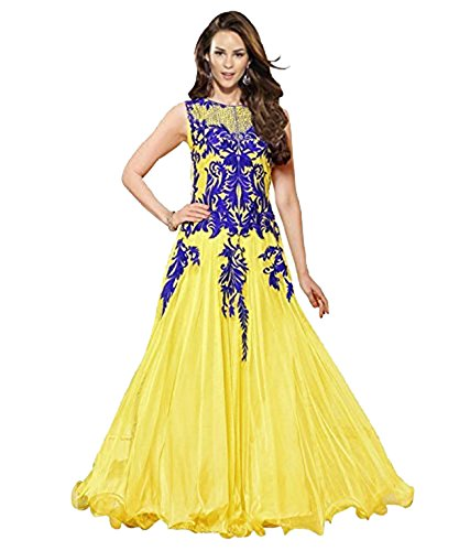 Clickedia Women's Heavy Georgette Semi-stitched Yellow & Blue Embroidered Floor Length Anarkali Suit - Dress Material  available at amazon for Rs.399