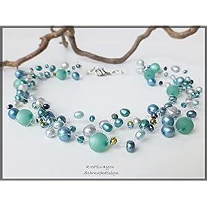Perlenkette mehrreihig multicolor mint, silbergrau, salbeigrün