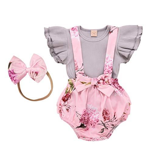 Sanahy Kleinkind Kinder Baby Mädchen Florale Bowknot Weste T-Shirt + Shorts Outfits Kleiderset Sommerkleidung für Kinder Mädchen(2-7Jahre)
