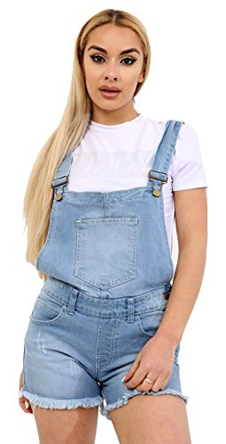 Red Olives Women's Ladies Denim Style Pinafore Dungaree Girls Shorts Dress Jumpsuit UK Size 8 10 12 14 16