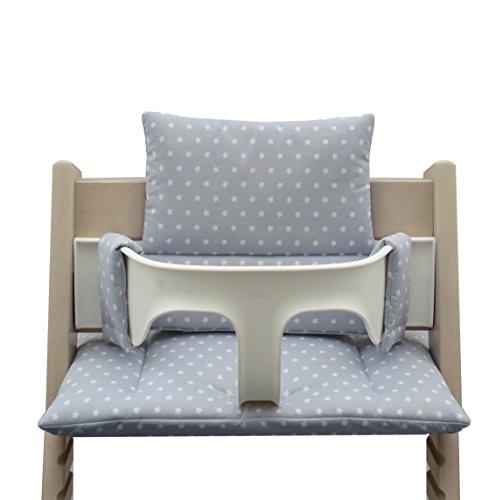 blaus-berg-baby-seggiolone-cuscino-rivestimento-per-tripp-trapp-grigio-con-motivo-stelle