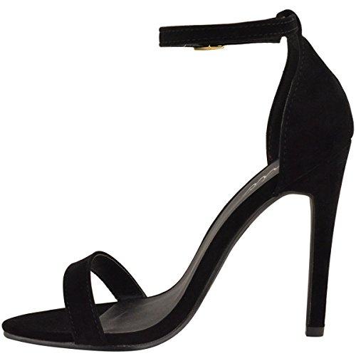 Da donna in acciaio inox a forma di scarpa con tacco a livello della caviglia etto con Peep tappete Scamosciato Nero