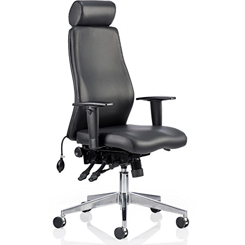Dynamic Onyx Ergo Posture Bonded Leather Chair with Headrest and Arms - Black