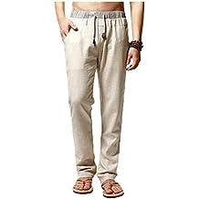 8900273558a3 Elonglin Homme Pantalon de Loisir en Lin Confortable Respirant Taille  Elastique Cordon de Serrage