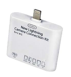 Top&Easy Tech® 5 in 1 Camera Connection Kit SD (SDHC), TF, M2, MS, MMC für iPad Mini / iPad 4 / iPad Air / iPad mini mit Retina Display - Überträgt Bilder und Videos - USB Anschluß für Card Reader, Kameras oder Tastatur
