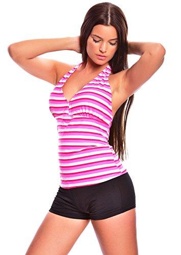 6 tlg. Bademode verschiedene Outfits / Push up Mix-Tankini mit Hotpants / Slip verschiedene Farben f4861 Karo Muster, Pink/Weiß Punkte, Bunt gestreift