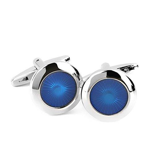 NUOLUX Hommes ronds chemise manchette cadeau bleu et arg