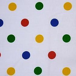 Blanco polialgodón tela mediana diseño con motivos geométricos Multicolor diseño de lunares (por metro)