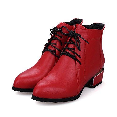VogueZone009 Damen Niedrig-Spitze Niedriger Absatz Spitz Zehe Stiefel mit Metallisch Rot