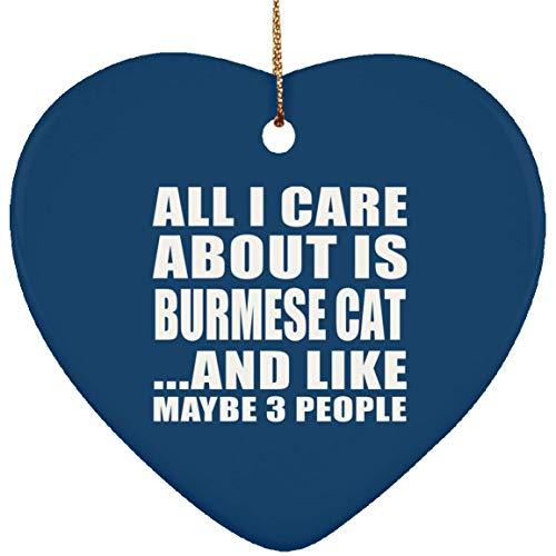 st Gift Idea, All I Care About is Burma Cat and Like May 3 People Keramik-Herz-Ornament Hund Katze Besitzer Bday Lustiger Weihnachtsbaum Dekoration Geschenk Weihnachten ()