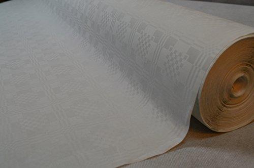 50 Meter Lang 120 Cm Breit Farbe: Weiss / Weiß Tischdecke Papier Damastprägung Tischtuch Papierttischdecke Decke Rolle Papiertischdeckenrolle Papierdecke