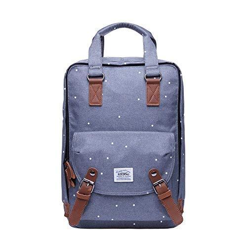Rucksack Damen Herren,KAUKKO weißen Pünktchen Daypack Schulrucksack Kinder Stylisch 15 Zoll Laptop Rucksäcke für Wandern Outdoor ...