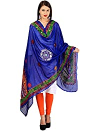 VASTRAA FUSION THREAD EMBROIDERED AARI WORK ETHNIC COTTON DUPATTA - BLUE COLOUR