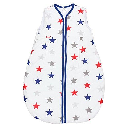 TupTam Baby Schlafsack Wattiert ohne Ärmel ANK001, Farbe: Sterne Blau/Rot, Größe: 62-74
