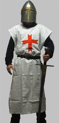 Kreuzritter Wappenrock / Waffenrock div. Farben - Templer - Deutsch Orden - Johanniter - LARP - Mittelalter Farbe schwarz mit weißem (Templer Kostüm)