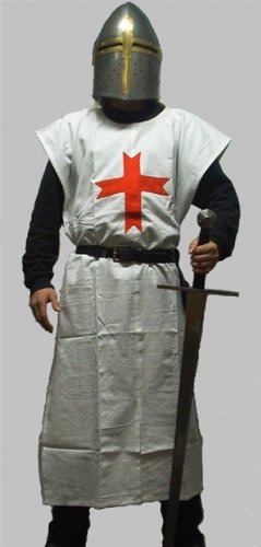 Wappenrock Kostüme (Kreuzritter Wappenrock / Waffenrock div. Farben - Templer - Deutsch Orden - Johanniter - LARP - Mittelalter Farbe schwarz mit weißem)