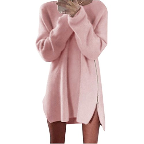 internet-women-side-zip-chunky-knitted-cardigans-baggy-sweater-jumper-top-dress-s-pink