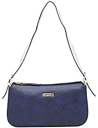 ESBEDA D-Blue/White Color Solid Pu Synthetic Material Hand Bag For Women