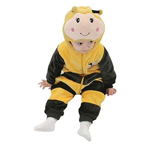 Missfox unisex bambino kigurumi pigiama anime cosplay halloween costume attrezzatura con cappuccio - ape, taglia 100
