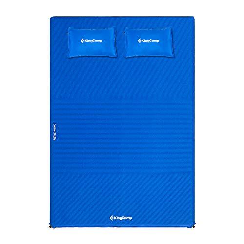 KingCamp Doppel Isomatte Selbstaufblasbare Campingmatratze mit 2 Selbstaufblasenden Kissen für Camping Outdoor, 198 × 130 × 4 cm