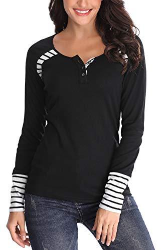 Anienaya Oberteile Langarmshirt Damen Bluse Henley Shirt Longsleeve Streifen Tunika Elegant Schwarz X-Large -