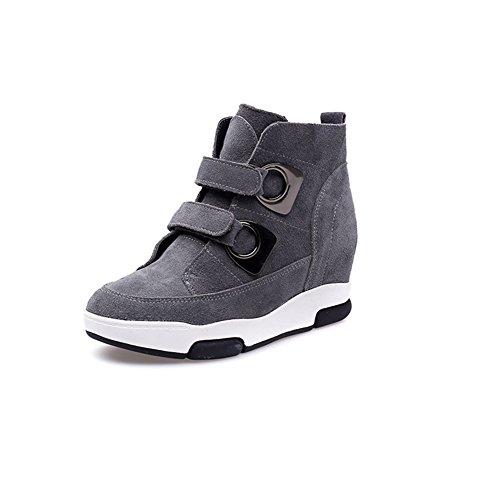 Damen Stiefeletten Rundzehen Wildleder Sportliche Winter Sneakers Grau