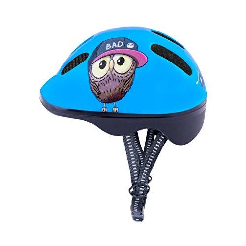 Fahrradhelm Kinder | Spokey | Radhelm verstellbare Größe | Kopfumfang 44-48 / 49-56 | Verschiedene Farbversionen (Blau Owl, 49-56)