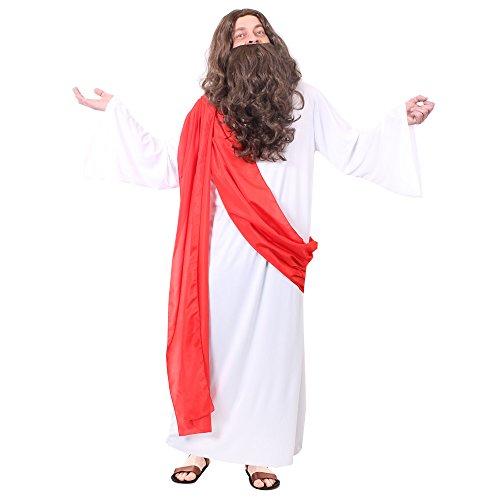 Verschiedenen Heiligen Von Kostüm - ILOVEFANCYDRESS Jesus Sohn GOTTES KOSTÜM VERKLEIDUNG =2 Verschiedene GRÖßEN +MIT ODER OHNEN BART+PERÜCKE = DAS PERFEKTE KOSTÜM FÜR Religion=Fasching Karneval Halloween= MIT PERÜCKE -XLarge
