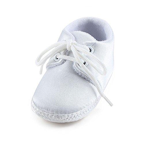 DELEBAO Baby Taufe Schuhe Taufschuhe Babyschuhe Turnschuhe Krabbelschuhe Weiche Sohle Weiße Schnüren für Mädchen Junge Kleinkind (Schuhe-2,0-6 Monate)