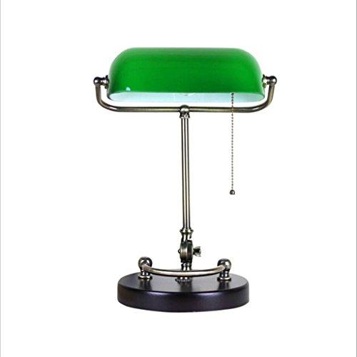 QIN PING GUO American Vintage Echtholz Schreibtischlampe Studie Schreibtisch Job Lesen der grünen Schlafzimmer Bett der Alten Shanghai Bank (E27 * 1) - Schreibtisch-job