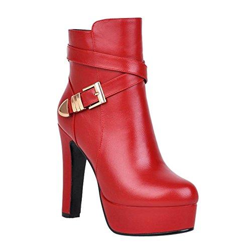 Mee Shoes Damen high heels Reißverschluss Plateau Stiefel Rot