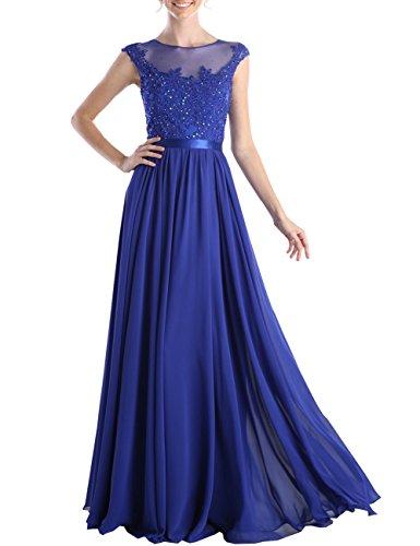 Erosebridal Bodenlänge Chiffon Abendkleid mit Rüschen Blume Blau A