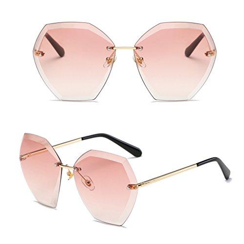 Loegrie 1 pcs Mode Femme sans monture Cristal Cut Lentilles Lunettes de  soleil Gradient de designer 3c9c3209490a