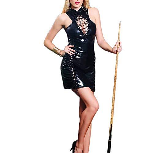 AKAKKSKY Wetlook Minikleid Lackleder Erotik Damen Body Leder Kleid Damen Sexy Lingerie Clubwear Damen Sexy Kleider Clubbing Partykleid,XL (Kleider Sexy Clubbing)