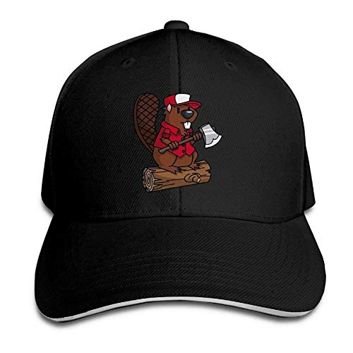 ewtretr Custom-Adult Woodworking Beaver Fishing Cap Hat Black Adjustable Unisex Suitable for All Seasons Custom Fit Stretch Cap
