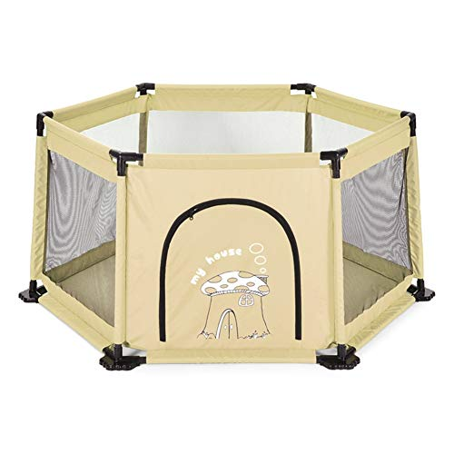 LXLX Zona de Juegos Infantil Cerca de un bebé Infantil Cerca de un Patio de recreo Resistente a roturas de 6 Paneles (Color : Caqui)