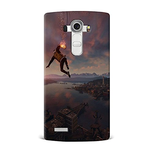 LG G4 Case, LG G4 Hard Protective SLIM Printed Cover [Shock Resistant Hard Back Cover Case] for LG G4 - Infamous Second Son Smoke Ability City View  available at amazon for Rs.299