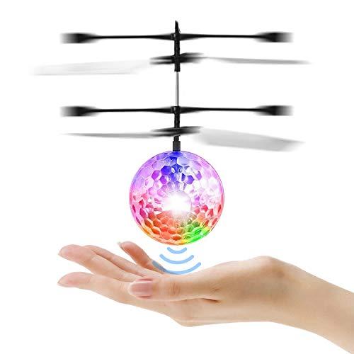 PTHTECHUS Fliegender Ball LED Flying Ball - Handsensor Infrarot Mini Hubschrauber Fliegendes Spielzeug, Drohne mit bunt leuchtendem für Kinder, Urlaub Spielzeug Geschenke für Jungen Mädchen Student