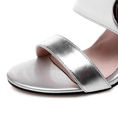 LvYuan Femme Sandales Cuir Eté Marche Boucle Combinaison Gros Talon Argent 7,5 à 9,5 cm Silver