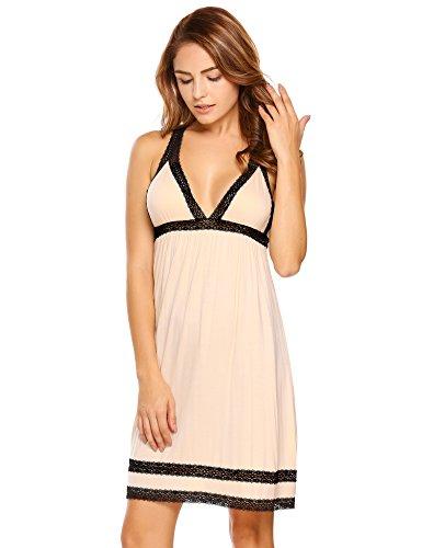 Ekouaer Damen Sexy V-Ausschnitt Nachthemd Neckholder Spitze Nachtwäsche Verstellbar Träger Nachtkleid Kurz Sleepshirt Negligee