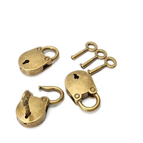 Webla 3Pcs Antique Style Mini Archaize Vorhängeschlösser Vintage Tastensperre Mit Schlüssel Antike Aluminiumlegierung Gepäck Backbag Security Saver Lock -