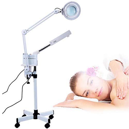 MOSTEAMER 3 in 1 UV Ozon Fußboden Gesicht Dampf LED 5X Lupenlampe Kalt Licht zum Haut Pflege Sauber Gesichts Luftbefeuchter Schönheit Karosserie Spa Salon Tätowieren Makeup Benutzen