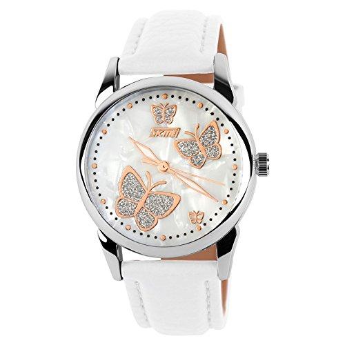 hen Armbanduhr - Leder Armband Leuchtend Schmetterling Dekorativ Quarz Armbanduhr für Mädchen Damen ()