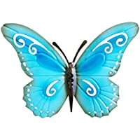 WINOMO Mariposa Metal Adorno Pared Decoración Colgante de Pared Azul 42 cm x 39 cm