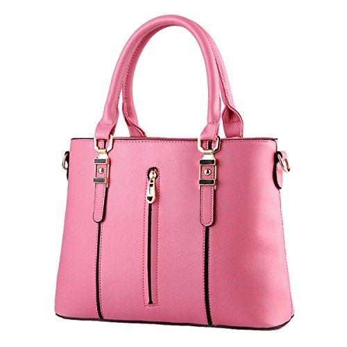 Damen-Tasche Handtasche Modische Schulter Schräge Kreuz Tasche Reißverschluss Pink